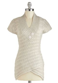 Stick Around Sweater in Stone - Long, Cream, Solid, Buttons, Knitted, Casual, Short Sleeves