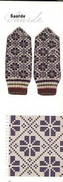 "Photo from album ""Варежки ))) схемы"" on Yandex. Crochet Mittens Free Pattern, Fair Isle Knitting Patterns, Knitting Charts, Knit Mittens, Knitted Gloves, Knitting Stitches, Knit Crochet, Crochet Patterns, Wrist Warmers"