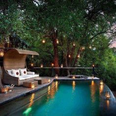 Tropical deck with infinity pool