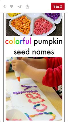 with Colorful Pumpkin Seeds Colorful name activities using pumpkin seeds! Meaningful, beautiful, and educational!Colorful name activities using pumpkin seeds! Meaningful, beautiful, and educational! Preschool Names, Preschool Learning, Seed Activities For Preschool, Pumpkin Preschool Crafts, Pumpkin Seed Crafts, Halloween Activities For Preschoolers, Pumpkin Seed Activities, Preschool Fall Theme, October Preschool Crafts