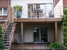 - All About Balcony Balcony Design, Patio Design, House Design, Staircase Outdoor, Small Garden Pergola, Front Porch Addition, Sims Building, Beautiful House Plans, Pergola Curtains