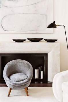 emmanuel de baysers - midcentury-home in berlin - marble fireplace + art + mouille Modern Interior, Interior Styling, Interior Architecture, Interior Decorating, Minimalist Interior, Midcentury Modern, Minimalist House, Minimalist Bedroom, Interior Design Inspiration