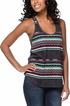 Take your style to the next level with the combination of tribal and animal print in the Casey Zebra Stripe tank top from Empyre Girl. Featuring a lightweight Nine Iron Grey material with a racerback cut, scoop neck, and draped fit, the Casey Zebra Stripe Iron Tanks, Striped Tank Top, Dress For Success, Racerback Tank Top, Look Cool, Miranda Kerr, Raw Edge, Tank Tops, My Style