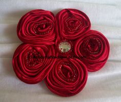 Red Satin Flower Beaded Hair Clip Ladies by CuteNCurlyBowtique, $7.95