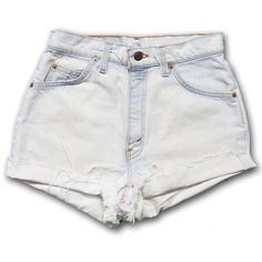 Vintage 90s Levi's Light Blue Bleached White Wash High Waisted Rise... ($49) ❤ liked on Polyvore featuring shorts, bottoms, black, women's clothing, black denim shorts, white denim shorts, high rise denim shorts, cut off shorts and cuffed denim shorts
