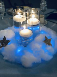 Twinkle twinkle little star centerpieces jaxandsagedesigns candle babyshower can. Star Baby Showers, Boy Baby Shower Themes, Baby Shower Fun, Baby Shower Gender Reveal, Shower Party, Baby Shower Parties, Baby Boy Shower, Cloud Baby Shower Theme, Unique Baby Shower