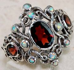 2ct Natural Garnet Opal 925 Solid Sterling Silver Victorian Style Ring Sz 6.5