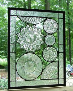 Vintage Crystal plate collage panel by Barbarasstainedglass, $165.00