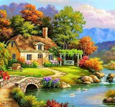 Paisajes in 2019 Landscape Art, Landscape Paintings, Watercolor Paintings, Winter Landscape, Pictures To Paint, Nature Pictures, Beautiful Paintings, Beautiful Landscapes, Kinkade Paintings