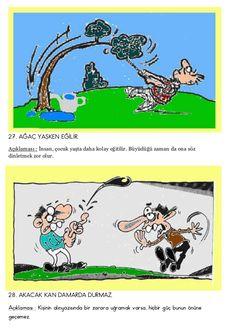 Türkçe resimli atasözleri Comic Books, Comics, Languages, Bandana, Idioms, Bandanas, Comic, Language, Cartoons