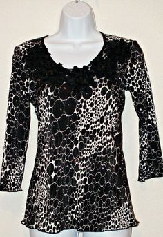 Brittany Black Casual Long Sleeve Crinkle Women's Top Blouse Size M #BrittanyBlack #Blouse #Casual