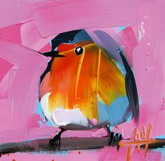 Robin no. 98 original bird oil painting by Angela Moulton 5 x 5 inch on panel prattcreekart
