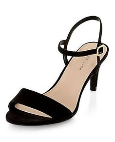 Black Ankle Strap Mid Heels  | New Look
