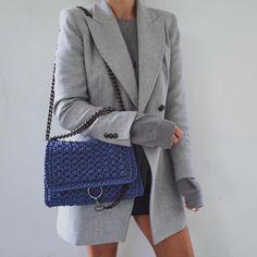 """1,742 """"Μου αρέσει!"""", 109 σχόλια - M  A  R  G  A  R  I  T  A 🥀 (@ritamargari) στο Instagram: """"#ootd gray and blue 🎶 Love this #bag by #greecedesigner @one_and_only_irinipapadopoulou 🎶 blazer…"""""""