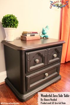 Bmore Nestled, http://www.BmoreNestled.wordpress.com/, used General Finishes Java Gel Stain to refinish this table.  The knobs are a great touch.  Love it!We'd love to see your projects made with General Finishes products! Tag us with #GeneralFinishes or share with us through our facebook page. #javagel #gfstyle #refinish