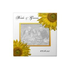 Yellow #Sunflower #Wedding Photo Tile  Customize the Yellow Sunflower Wedding Photo Tile with your own picture, names of the bride and groom and marriage ceremony date. This beautiful custom floral tile makes a unique keepsake wedding gift idea for the newlyweds or thank you gift for wedding attendants, bridesmaids and bridal party.This cute flowery wedding tile features yellow sunflowers adorning the corners. Perfect for the couple who have planned a summer, fall or sunflower wedding theme.