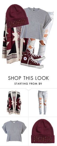 """Burgundy."" by mindlesslyodd ❤ liked on Polyvore featuring Lee, River Island, H&M and Converse"