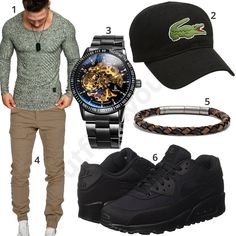 Casual men's style with green Amaci & Sons longsleeve and beige cargo pants, black Nike Air Max, Lacoste Cap, Fossil leather strap and gold-black Alienwork automatic watch.  1. Longsleeve► amzn.to/2ruwtm1 2. Cap► amzn.to/2rtXtlo 3. o'clock► amzn.to/2HYRn7K 4. pants► amzn.to/2HZtUU5 5. bracelet► amzn.to/2jIekxz 6. shoes► amzn .to / 2jGw647 Neue Outfits, Komplette Outfits, Stylish Outfits, Emporio Armani, Mens Fashion 2018, Men's Fashion, Herren Outfit, Pullover, Lacoste