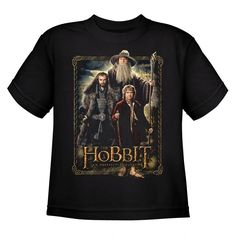 This shirt features Bilbo Baggins Gandalf the Grey and Thorin Oakenshield standing ready for their epic adventure. This youth tee…