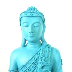 buddha statue, turquoise, beachy, home decor, statues, asian art, buddhas, bright $36