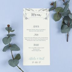 Wedding Menu - Willow - Rustic Wreath - EivisSa Kind Designs, Wedding Stationery West Midlands www.eivissakinddesigns.co.uk