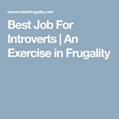 Best Job For Introverts | An Exercise in Frugality