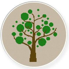 Descarga inmediata, envío gratis, contó cruz puntada árbol verde del patrón, punto de Cruz PDF, decoración cuarto de niños, zxxc0327