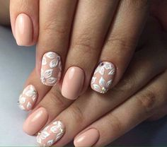 Beige and white nails, Festive nails with a picture, flower nail art, Holiday nails by shellac, Nails ideas with flowers, Nails with rhinestones ideas, Painted nails, Spring nail art