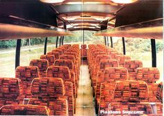 School trips were always in coaches like this. upholstery in buses and coaches was always orange or blue