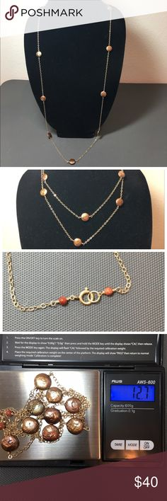 Fashion Gold Toned w Bronze Pearl Beaded Necklace Fashion gold toned necklace. Wear it long or double wrapped for shorter look.  Bronze pearl beads.  36 inch total length. 18 in drop.  12.7 grams.  Trades.  Lowball Offers. Please ask questions prior to purchase. Jewelry Necklaces