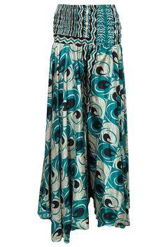 Women's Peasant Skirts Blue Printed Vintage Silk Sari Boho Long Skirt