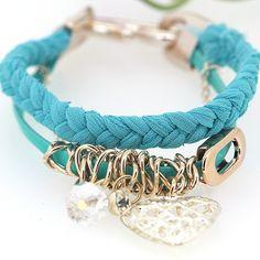 Korean Stylish Handmaking Hollow Love Pendant Designed Crystal Elements Charming Blue Woven Bracelets for Girls