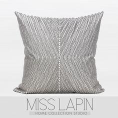 MISS LAPIN澜品家居/北欧极简设计师样板房/沙发床头/灰色X型立体绣珠方枕/布艺 /pillow /cushion /cushion cover-淘宝网