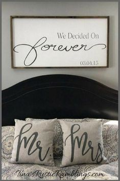 Wedding Gifts Large Wooden Sign / We Decided on Forever / Master bedroom Sign / Over the bed signs / personalized Sign / Wedding gift Bedroom Signs, Home Bedroom, Bedroom Decor, Bedroom Ideas, Signs For The Bedroom, Burlap Bedroom, Bedroom Canvas, Rustic Master Bedroom, Master Bedrooms