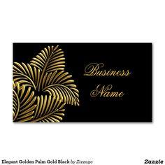 Elegant Golden Palm Gold Black Double-Sided Standard Business Cards (Pack Of 100)
