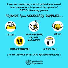 If you are organizing a small gathering or event, take precautions to prevent the spread of #COVID19 among guests. World Health Organization, Trend Fashion, Down South, How To Protect Yourself, Health Advice, Questions, Poster On, Health And Safety, Hand Sanitizer