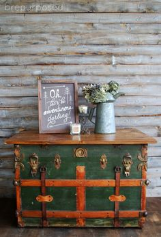 This Antique Steamer Trunk turned coffee table is sure to give you inspiration the next time you see one of these old trunks at a garage sale! Old Trunks, Vintage Trunks, Trunks And Chests, Vintage Suitcases, Antique Trunks, Cottage Shabby Chic, Romantic Shabby Chic, Repurposed Furniture, Painted Furniture