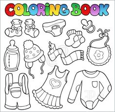 Templates Coloring Book Baby Clothes Vector Illustration Baby Coloring Pages Coloring Books Coloring Pages