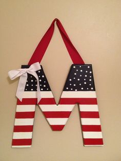 Hand painted 12 Wooden Patriotic Letter by kreationsbykia on Etsy, $19.99@Sharon Milton