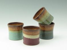 Pottery Juice Cups, Set of Four On-the-Rocks Cups, Stoneware 4-5 oz Small Tumblers for Dinnerware or Bar Ware, 3-5 Week Turnaround