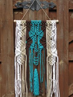 Image result for turquoise macrame wall art
