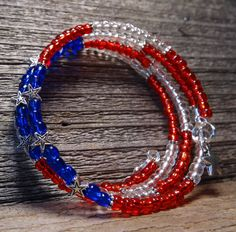 Stars and stripes forever red, white and blue with crystal accents  memory wire bracelet by FusedbyGenet on Etsy