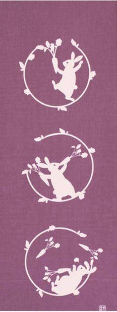 Japanese Tenugui Cotton Fabric, Carrot & Rabbit, Kawaii Hand Dyed Animal Print Fabric, Fox Gifts, Fashion Accessory, Home Decor Wall Art, JapanLovelyCrafts