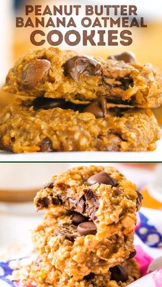 These Banana Oatmeal Cookies may be the healthiest, easiest cookie recipe you'll ever make! Made with banana, oatmeal, and peanut butter. Banana Oatmeal Recipe, Banana Cookie Recipe, Vegan Oatmeal Cookies, Oatmeal Cookie Recipes, Easy Cookie Recipes, Healthy Cookies, Sweet Recipes, Easiest Cookie Recipe, 3 Ingredient Banana Cookies