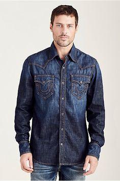 WESTERN DENIM MENS SHIRT Denim Button Up, Button Up Shirts, True Religion Men, Denim Shirt Men, Jean Shirts, Free Clothes, Jean Outfits, Fashion Men, Man