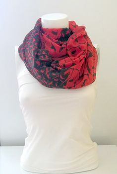 Bird Print  Red and Black Colour ScarfLoop by BestScarf on Etsy, $22.90
