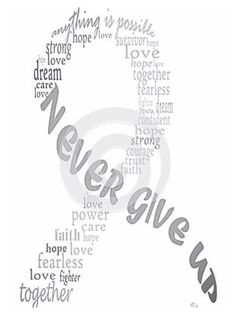 Never give up; grey ribbon, brain tumor awareness                                                                                                                                                                                 More