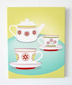 Tea for two  Textiles Canvas Print by lauraamiss on Etsy, €75.00