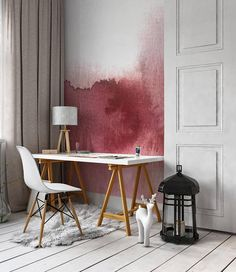 Soft Red Watercolour Wall Mural Custom Size Available Nursery Wall Murals, Watercolor Walls, Decoration, Home And Living, Dining Table, Wall Decor, Fabric, Wallpapers, Interiors