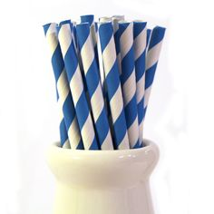 Two packs of Blue stripe retro paper straws - hardtofind.